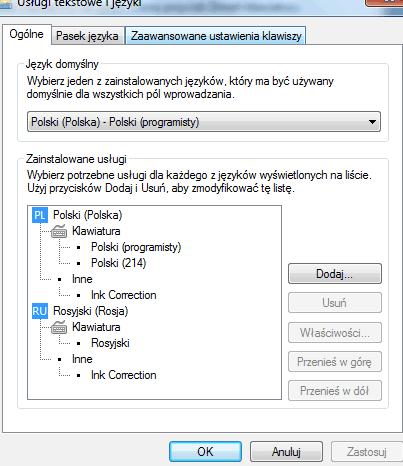 prosty sposób dodać język rosyjski w Windows7