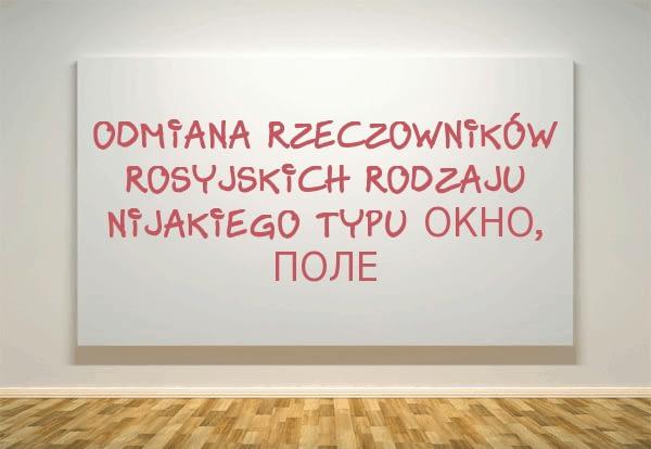 Odmiana rzeczowników rosyjskich rodzaju nijakiego typu окно, поле